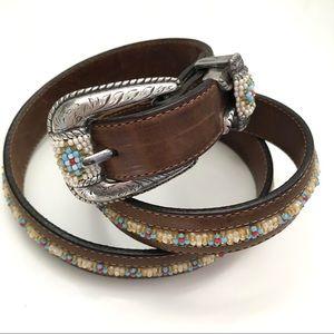 Tony Lama Vintage Southwestern Beaded Leather Belt